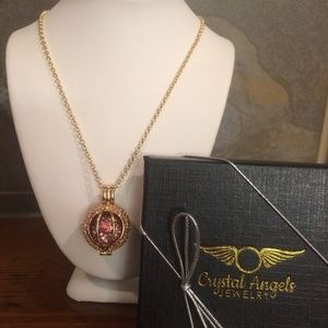 Gold / Pink Crystal Essential Oil Necklace gift